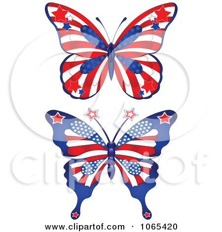 Clipart American Butterflies - Royalty Free Vector Illustration by Pushkin