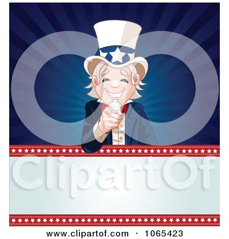 Clipart Uncle Sam On An American Background - Royalty Free Vector Illustration by Pushkin