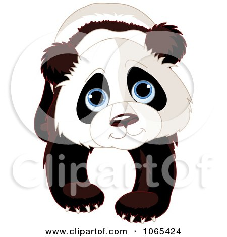 Clipart Cute Panda Walking Forward - Royalty Free Vector Illustration by Pushkin
