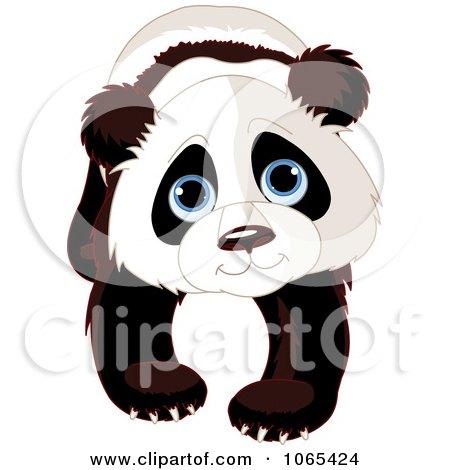Clipart Cute Baby Zoo Panda And Holding Bamboo - Royalty ...