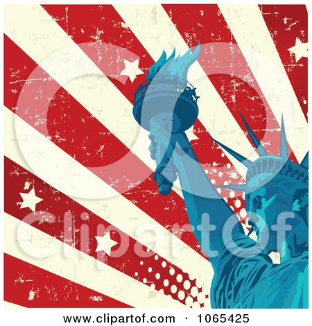 Clipart American Grunge Flag And Statue Of Liberty - Royalty Free Vector Illustration by Pushkin