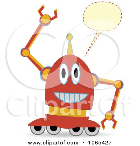 Clipart Talking Wheeled Robot - Royalty Free Vector Illustration by mheld