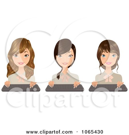 Clipart Secretaries With Keyboards 4 - Royalty Free Vector Illustration by Melisende Vector