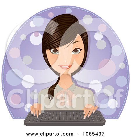 Clipart Brunette Secretary With A Computer Keyboard - Royalty Free Vector Illustration by Melisende Vector