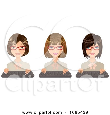 Clipart Secretaries With Keyboards 1 - Royalty Free Vector Illustration by Melisende Vector