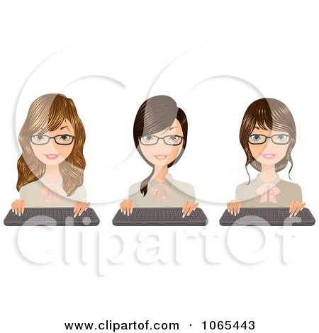 Clipart Secretaries With Keyboards 2 - Royalty Free Vector Illustration by Melisende Vector