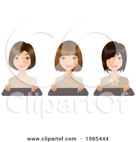Clipart Secretaries With Keyboards 3 - Royalty Free Vector Illustration by Melisende Vector