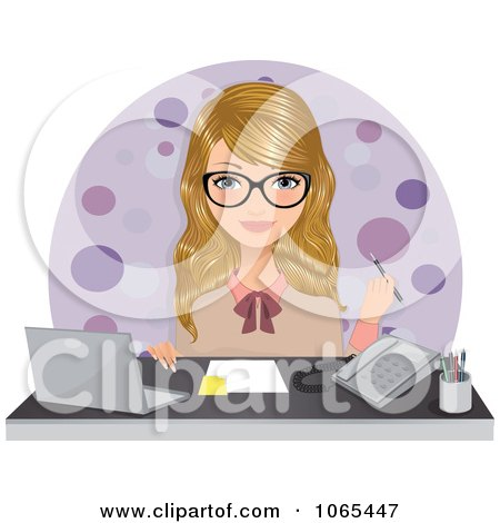 Clipart Secretary Seated At Her Desk - Royalty Free Vector Illustration by Melisende Vector