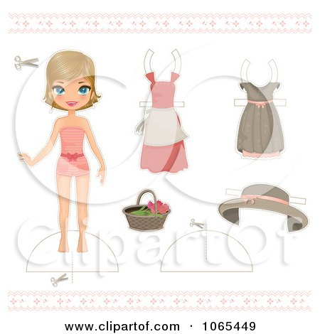Clipart Paper Doll Girl And Clothing 1 - Royalty Free Vector Illustration by Melisende Vector