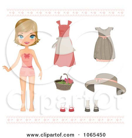 Clipart Paper Doll Girl And Clothing 2 - Royalty Free Vector Illustration by Melisende Vector