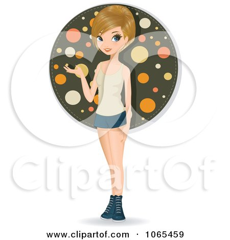 Clipart Teenage Woman Presenting 2 - Royalty Free Vector Illustration by Melisende Vector