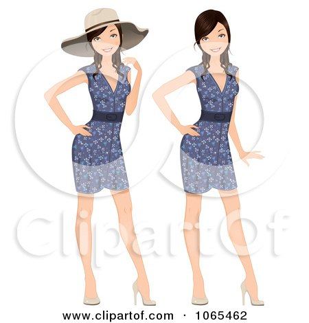 Clipart Woman Modeling A Floral Dress And Hat - Royalty Free Vector Illustration by Melisende Vector