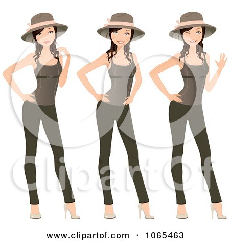 Clipart Woman Modeling Leggings, Hat And Tank Top - Royalty Free Vector Illustration by Melisende Vector