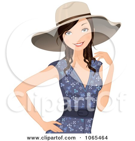 Clipart Woman In A Summer Dress And Hat - Royalty Free Vector Illustration by Melisende Vector