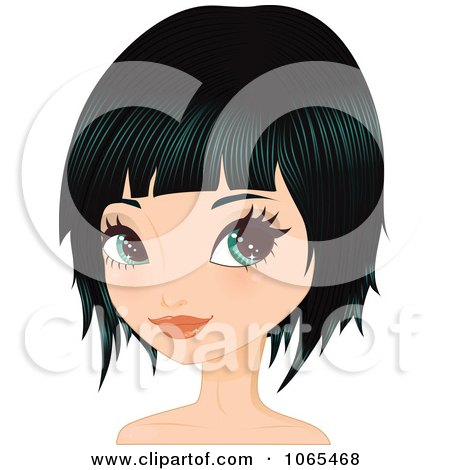 Clipart Woman With Black Hair In A Bob Cut 2 - Royalty Free Vector Illustration by Melisende Vector
