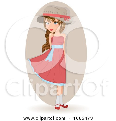 Clipart Girl In A Pink Dress - Royalty Free Vector Illustration by Melisende Vector