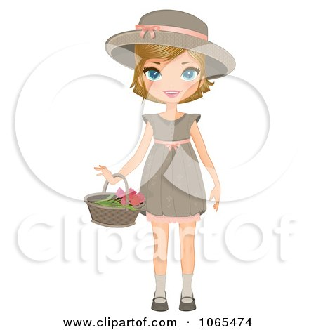 Clipart Girl Holding A Flower Basket - Royalty Free Vector Illustration by Melisende Vector