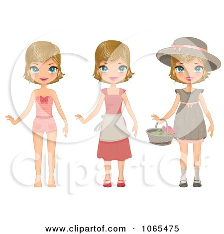 Clipart Girl In Three Outfits - Royalty Free Vector Illustration by Melisende Vector