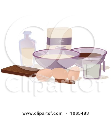 Clipart Baking Ingredients - Royalty Free Vector Illustration by Melisende Vector