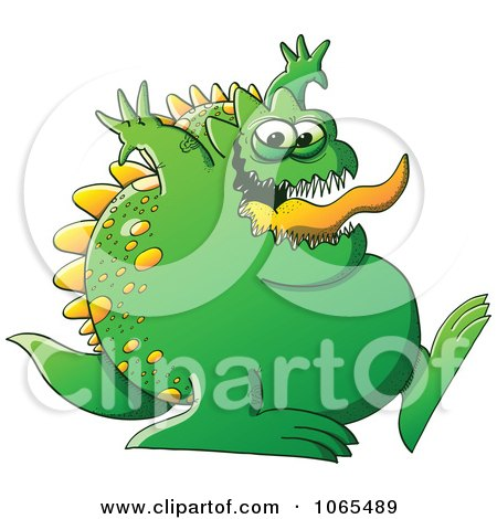 Clipart Fat Green Monster Walking - Royalty Free Vector Illustration by Zooco