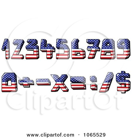 Clipart American Flag Numbers And Math Symbols - Royalty Free Vector Illustration by yayayoyo