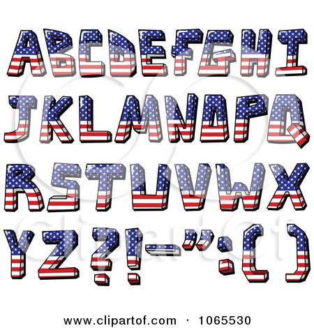 Clipart Capital American Flag Letters - Royalty Free Vector Illustration by yayayoyo