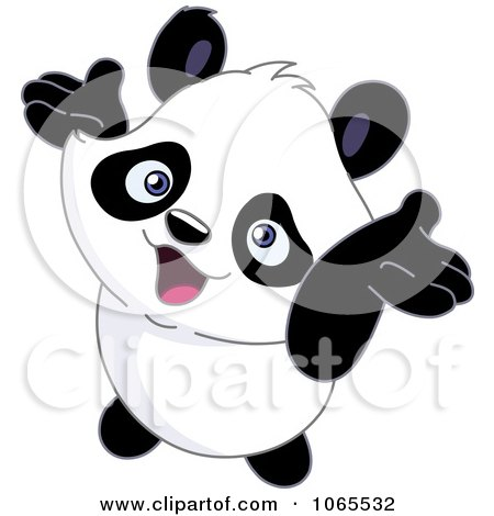 Clipart Cheery Panda Holding His Arms Up - Royalty Free Vector Illustration by yayayoyo