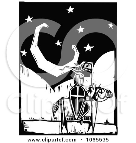 Clipart Knight On A Horse Under The Moon - Royalty Free Vector Illustration by xunantunich