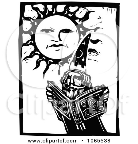 Clipart Warlock Reading A Magic Book Under The Sun - Royalty Free Vector Illustration by xunantunich