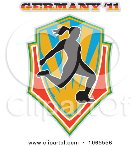 Clipart Female German Soccer Player Shield - Royalty Free Vector Illustration by patrimonio