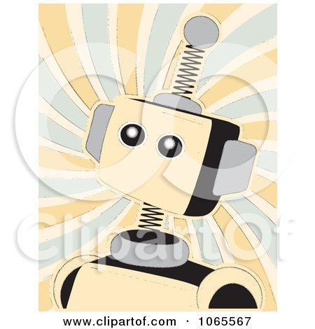 Clipart Springy Beige Robot Over Swirls - Royalty Free Vector Illustration by mheld