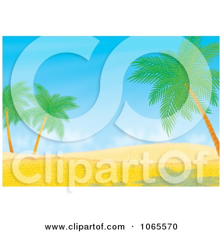 Clipart Desert Dune And Palm Tree Landscape - Royalty Free Illustration by Alex Bannykh