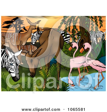 Clipart Gazelle, Zebras And Flamingos At A Watering Hole - Royalty Free Illustration by dero