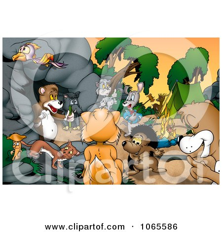 Clipart Camping Animals By A Bear Cave Royalty Free Illustration
