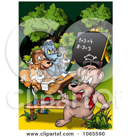 Clipart Bear Teacher Instructing Class - Royalty Free Illustration by dero