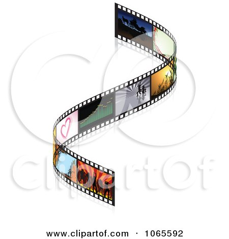 Clipart Curved Film Strip With Frames - Royalty Free Vector Illustration by dero