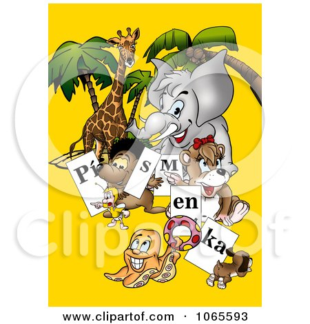 Clipart Animals Holding Letter Signs - Royalty Free Illustration by dero