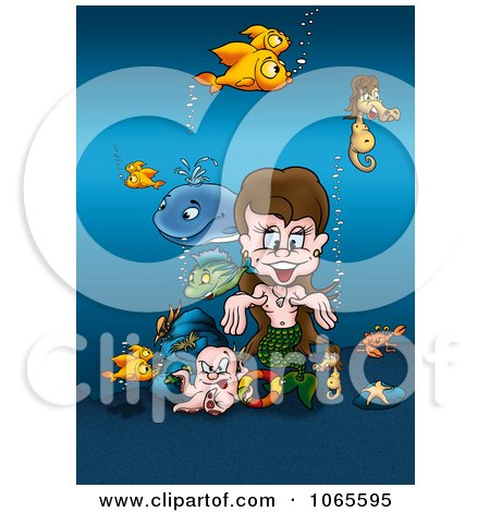 Clipart Mermaid With Sea Creatures - Royalty Free Illustration by dero