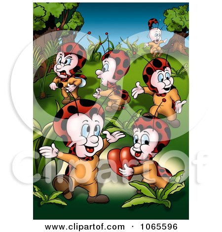 Clipart Ladybugs With A Heart - Royalty Free Illustration by dero