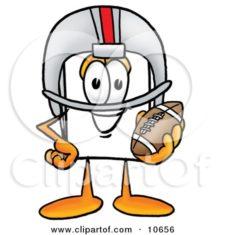 Clipart Picture of a Paper Mascot Cartoon Character in a Helmet, Holding a Football by Toons4Biz