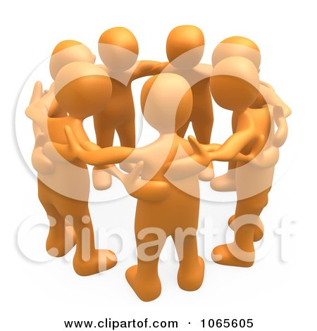 Clipart 3d Orange People In A Huddle - Royalty Free CGI Illustration by 3poD