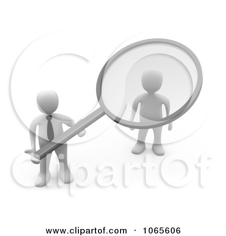 Clipart 3d White Businessman Doing A Background Check On An Applicant - Royalty Free CGI Illustration by 3poD