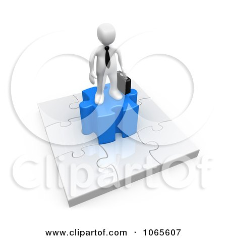Clipart 3d White Businessman On A Jigsaw Puzzle - Royalty Free CGI Illustration by 3poD