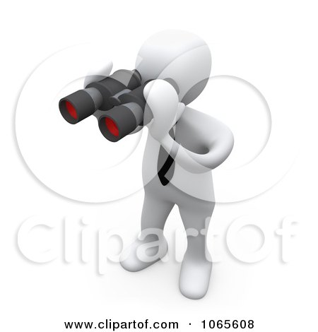 Clipart 3d White Person Using Binoculars - Royalty Free CGI Illustration by 3poD