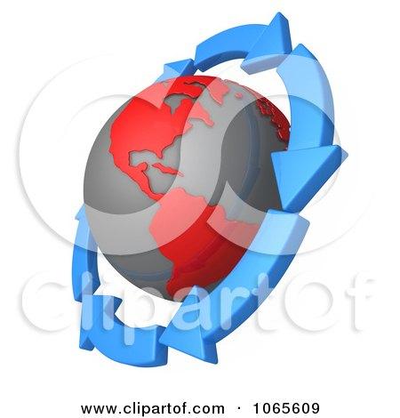 Clipart 3d Arrows Around A Globe - Royalty Free CGI Illustration by 3poD