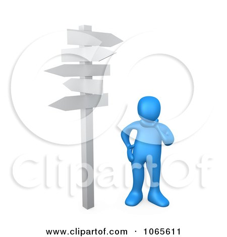 Clipart 3d Blue Person Standing At A Crossroads - Royalty Free CGI Illustration by 3poD