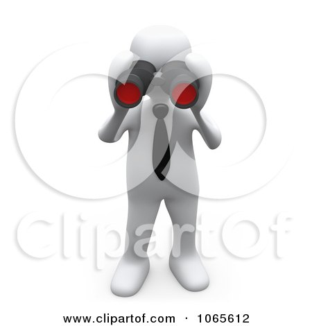Clipart 3d White Person Looking Through Binoculars - Royalty Free CGI Illustration by 3poD