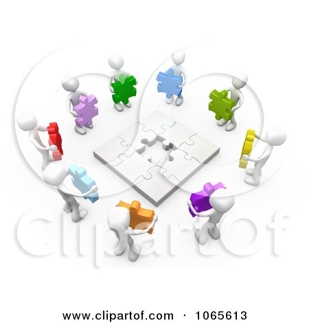 Clipart 3d White People Holding Colorful Puzzle Pieces - Royalty Free CGI Illustration by 3poD