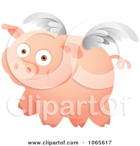 Clipart Winged Pig In Flight 1 - Royalty Free Vector Illustration by Qiun