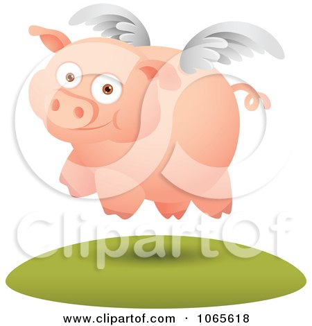 Clipart Winged Pig In Flight 3 - Royalty Free Vector Illustration by Qiun